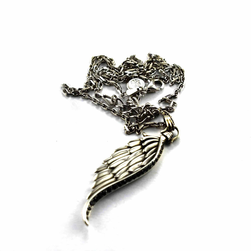 Wing silver necklace with onxy and crystal