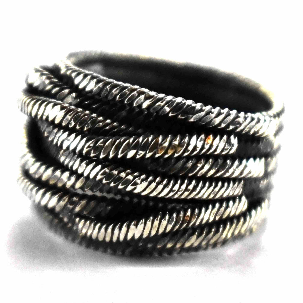 Wire shape with oxidize silver ring