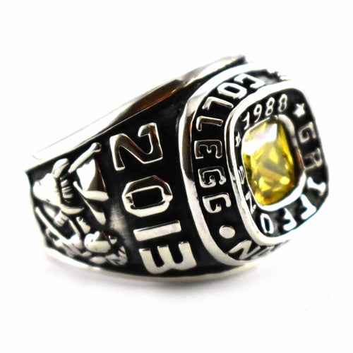 Yellow cubic zirconia silver school ring