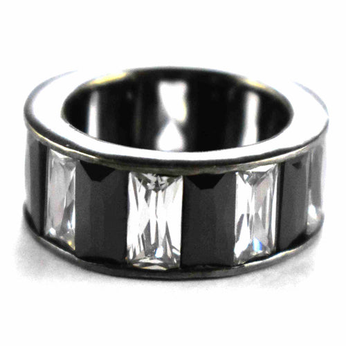 Zebra pattern cubic zirconia with black rhodium silver ring