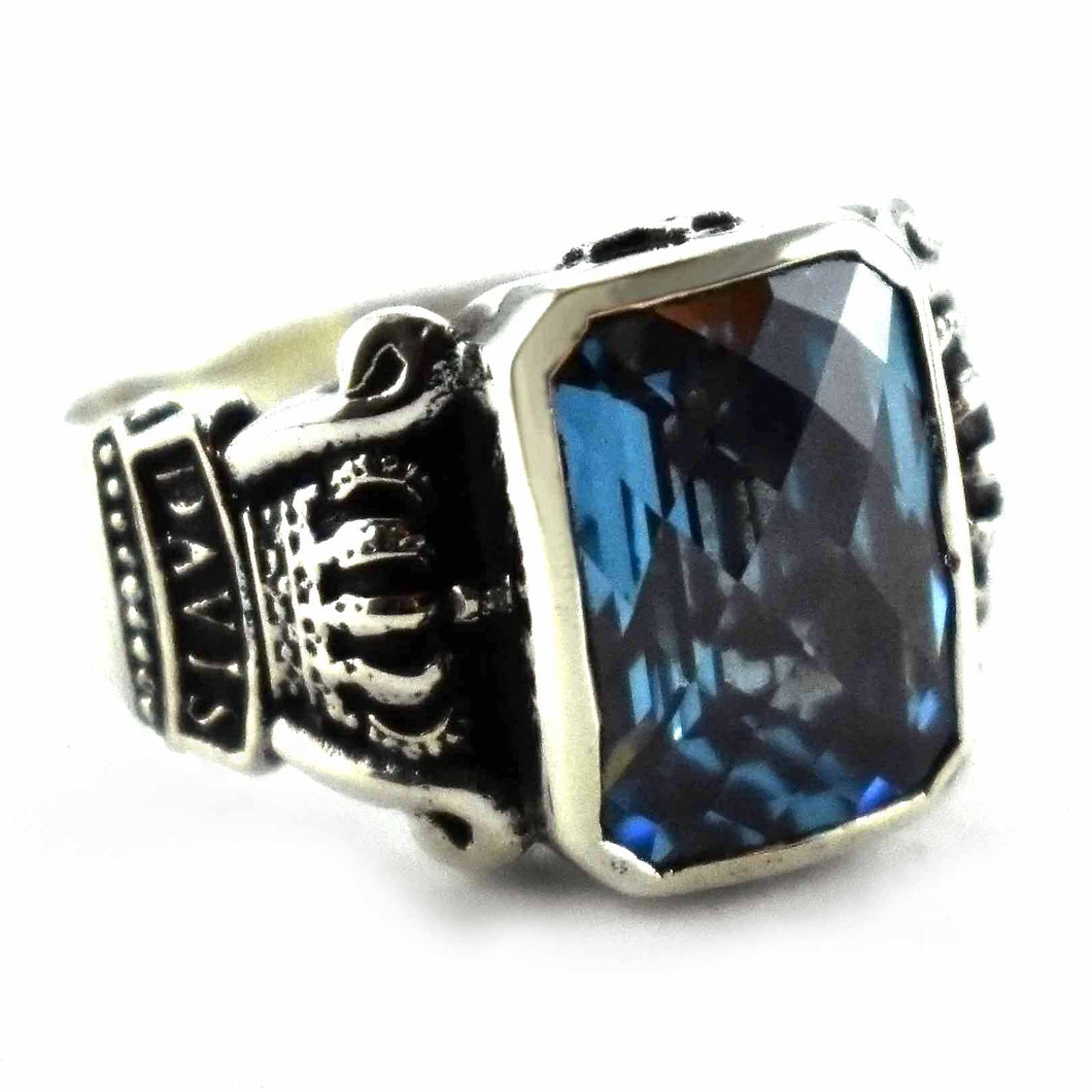 blue cubic zirconia with crown pattern silver ring