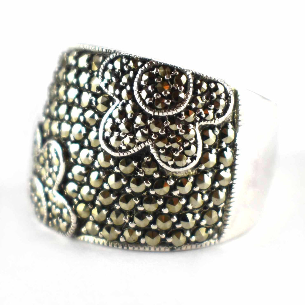 Flower pattern ring with marcasite & silver oxidize