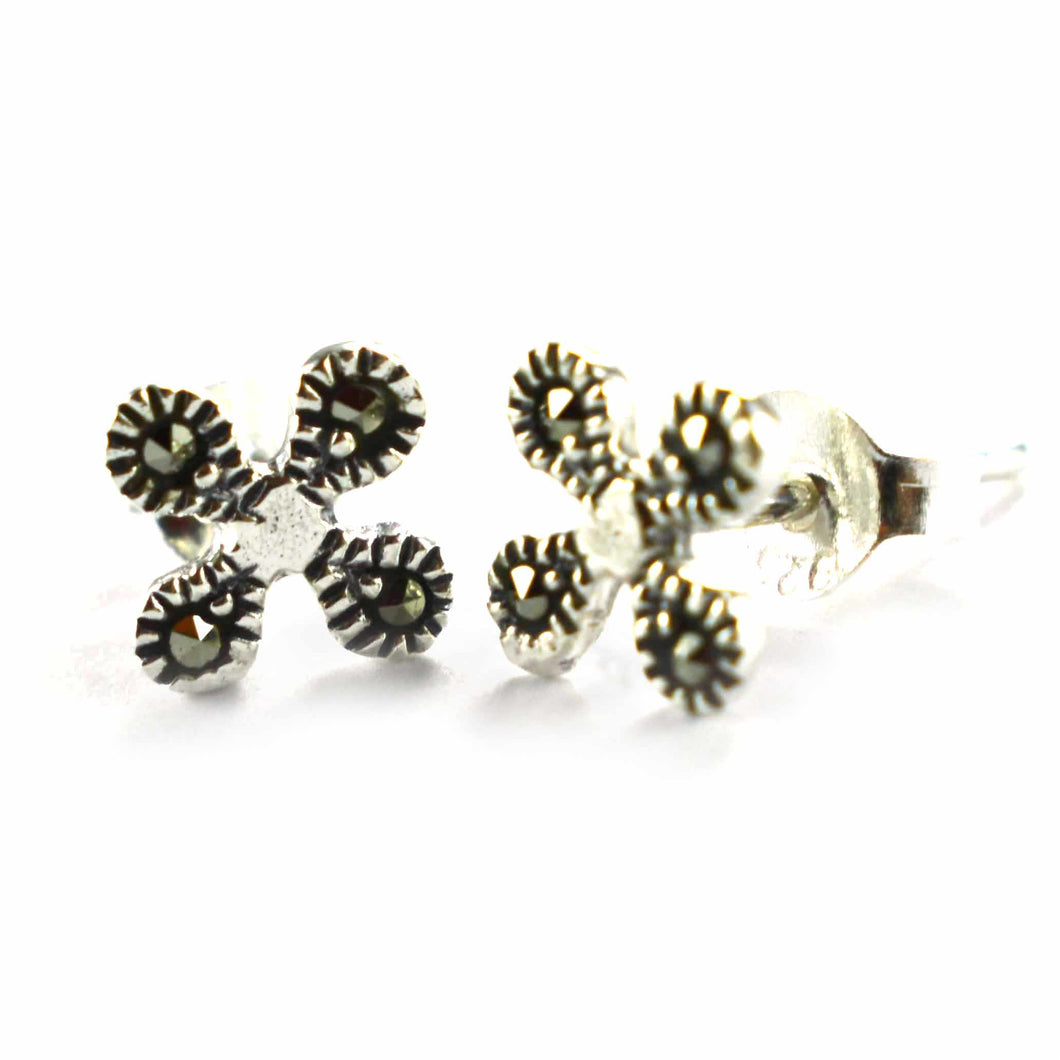 flower silver earring with marcasite & oxidizing