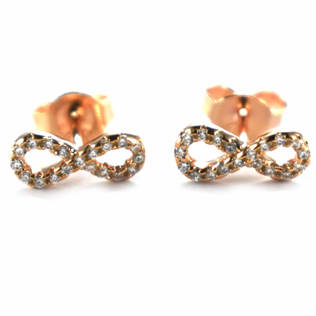 infinity symbol silver earring with white CZ & pink gold plating
