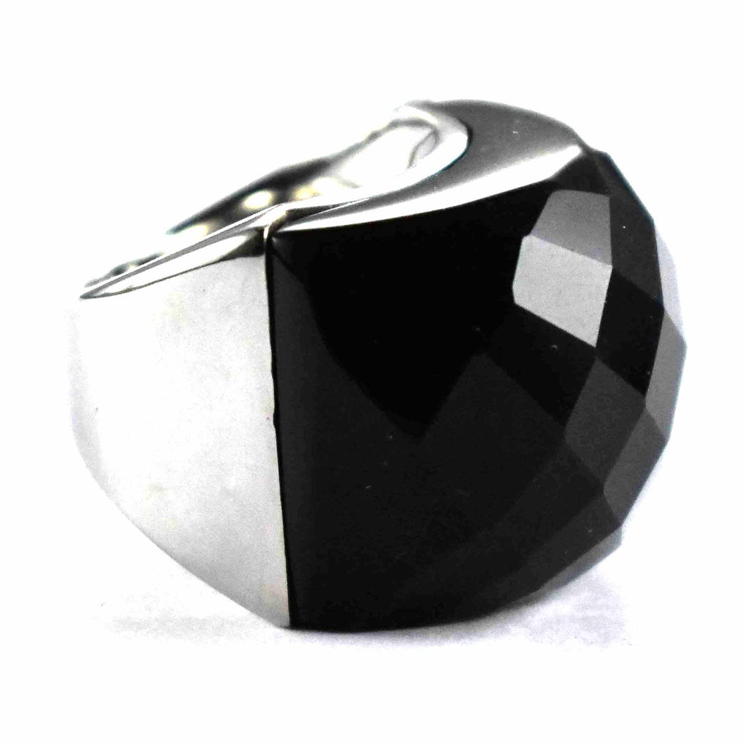 onyx with diamond cut with platium plating silver ring