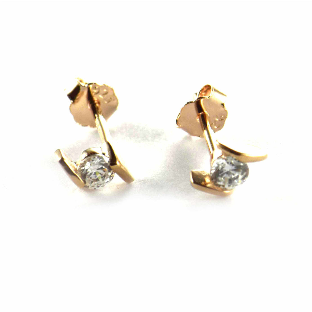 Parallel silver studs silver earring with pink gold plating
