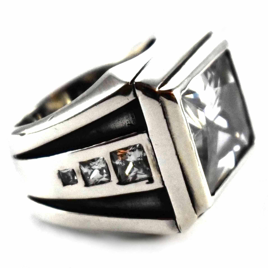 Square pattern with rectangle white cubic zirconia silver ring