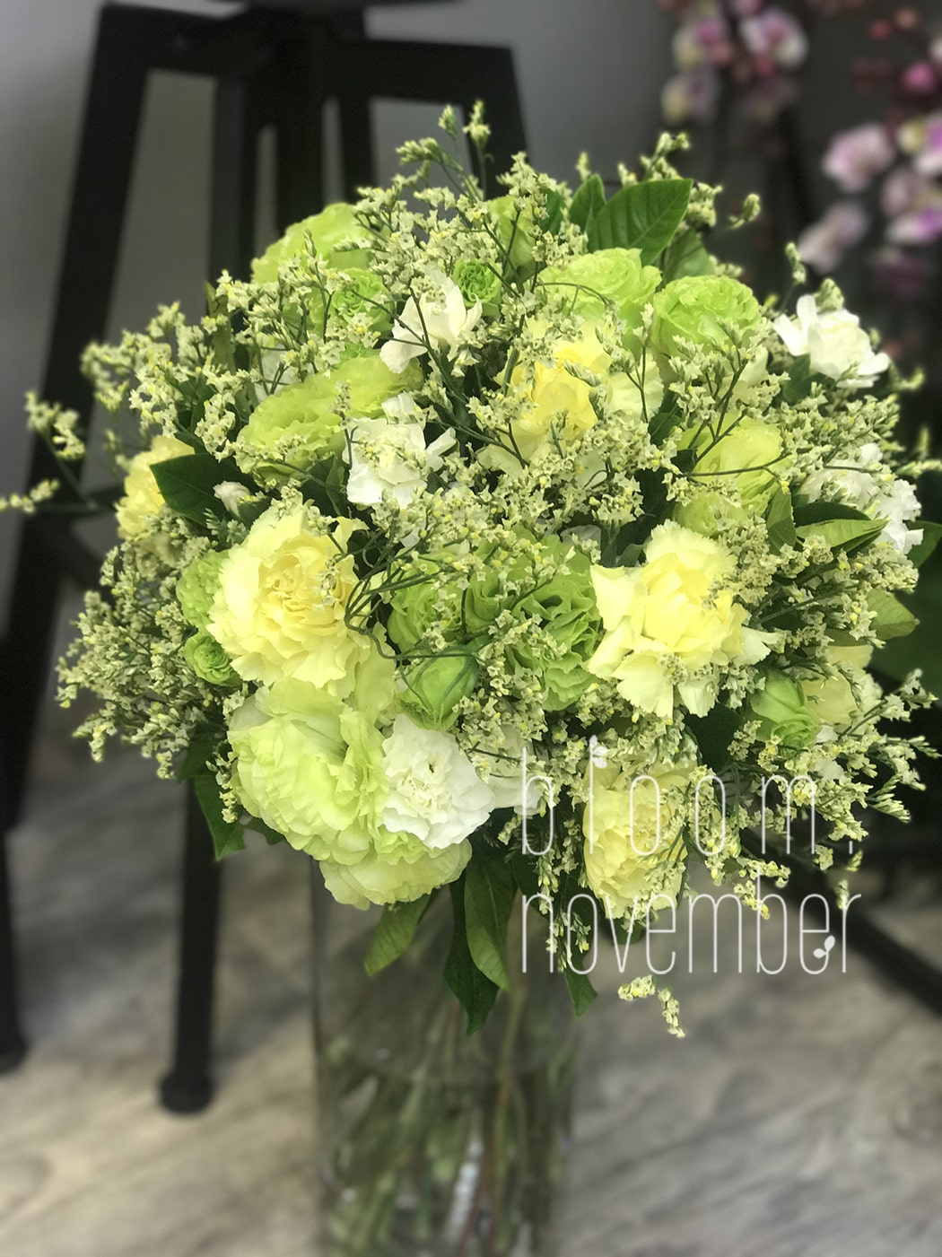 green carnation motherday bouquet