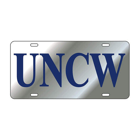 UNCW Silver Laser Cut Car Tag