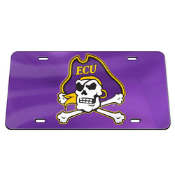 ECU Crystal Mirror License Plate (Purple)