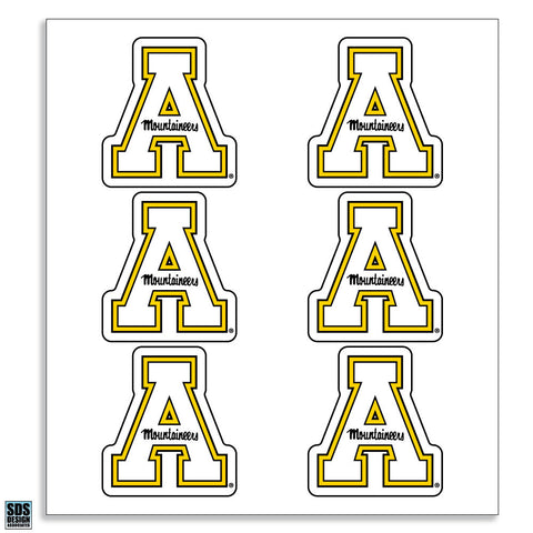 "Appalachian White ""A"" Vinyl Decals (6-Pack)"