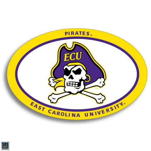 ECU Oval White Skull Decal