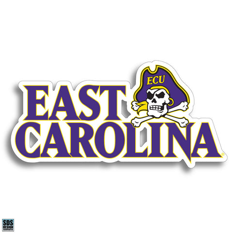 East Carolina Text Skull Decal