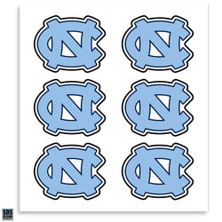 "UNC Interlock ""NC"" 1"" Vinyl Decals (Pack of 6)"