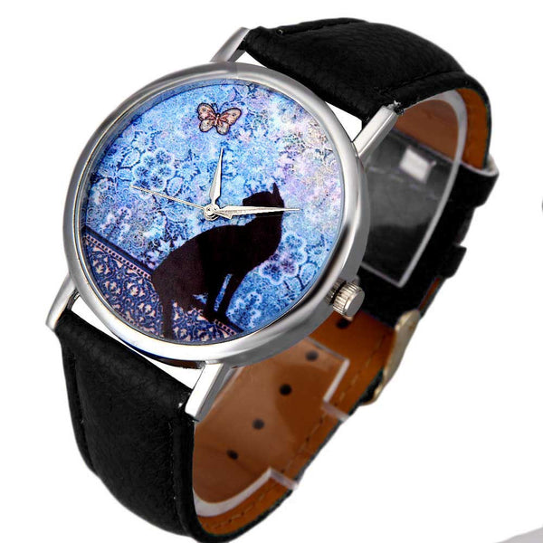 Cat Pattern Leather Band Wrist Watch