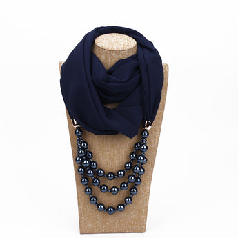 Pearl Chiffon Necklace Scarf