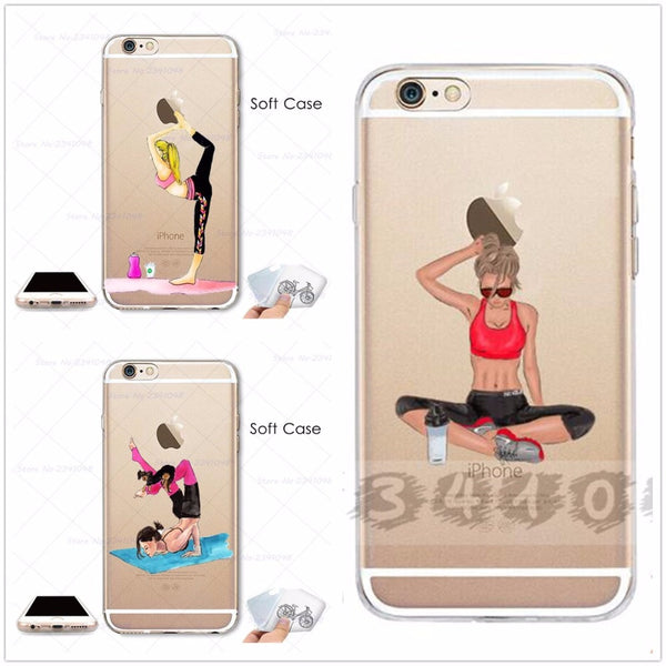 Yoga Girl Transparent Case for iPhone 4S/5/5S/SE/6/6S/7/8/X/Plus