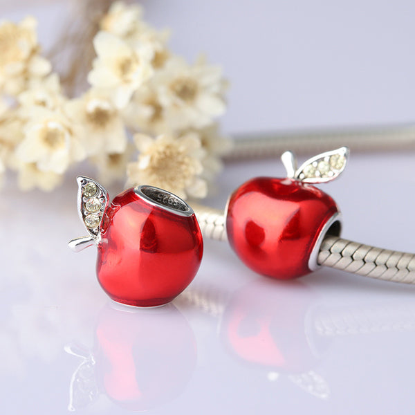 925 Sterling Silver Red Apple Charms Bead