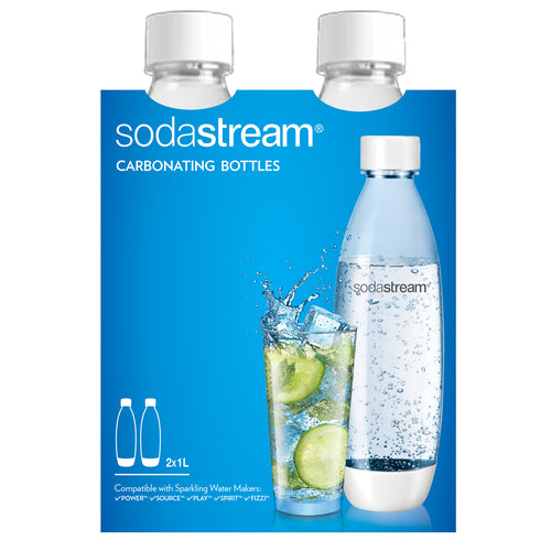 SodaStream Bottle 1L Twin Pack Fuse White