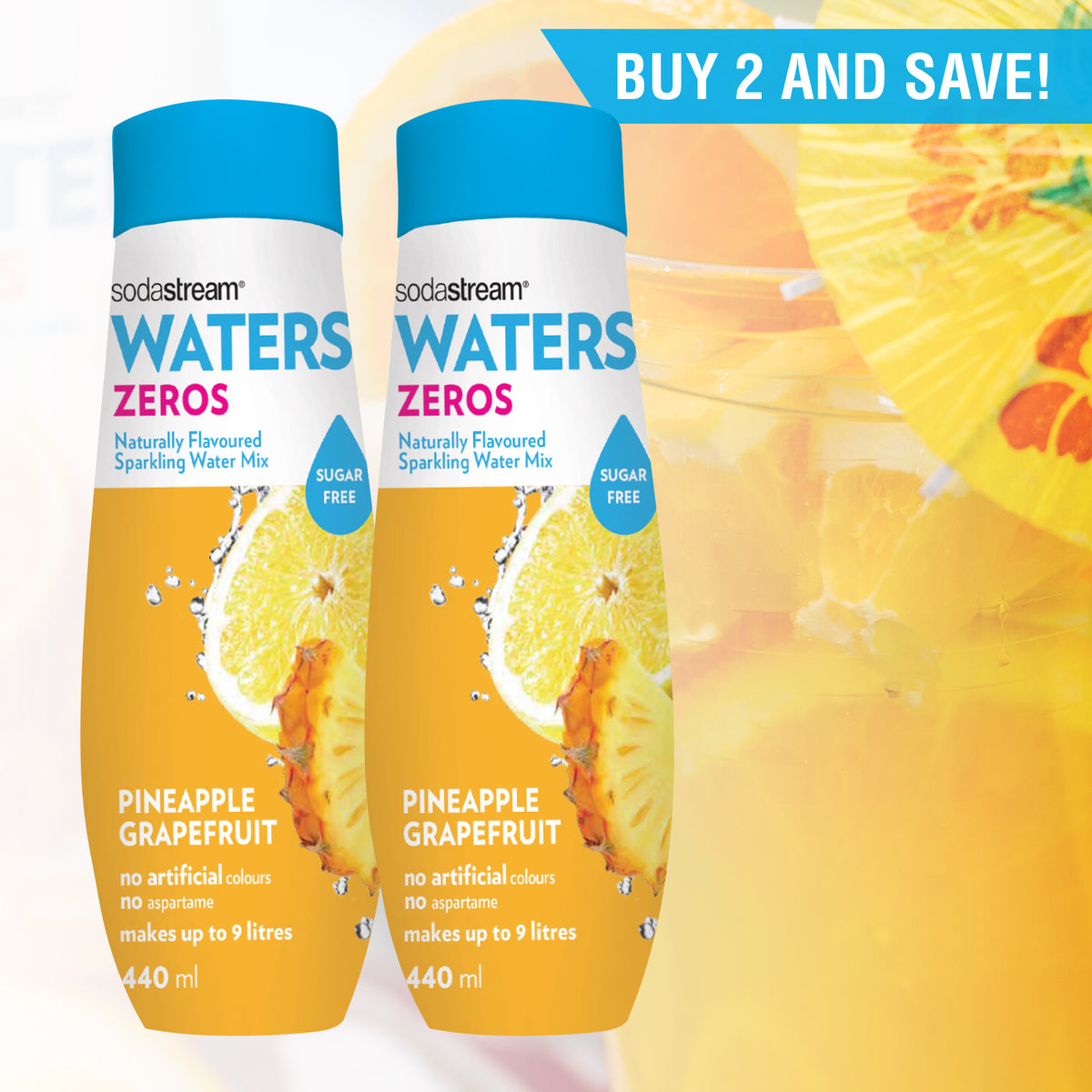 LIMITED TIME TWIN PACK SPECIAL ! SodaStream Zeros Pineapple Grapefruit Drink Mix (Stevia based, Sugar-free) - BB 01/12/2021