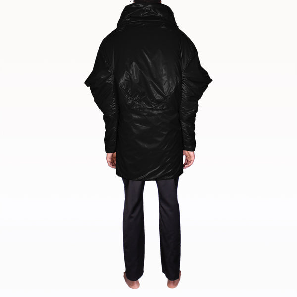 Back of Black Puffer Rob Coat