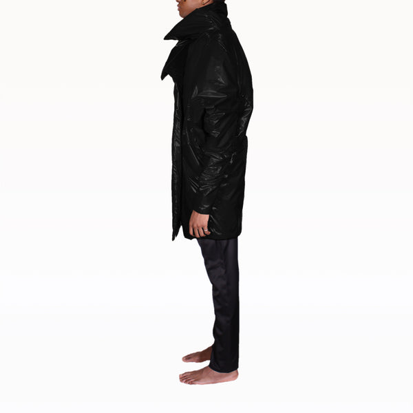 Left Profile of Black Puffer Rob Coat
