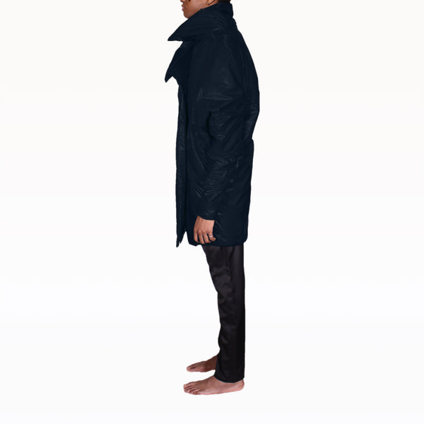 Left profile of Navy Puffer Rob Coat