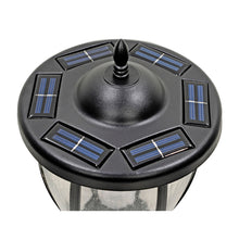 Solar Powered Outdoor LED Black Lamp Post with 18.5in Planter and Plant Hanging Arms - Ecowareness