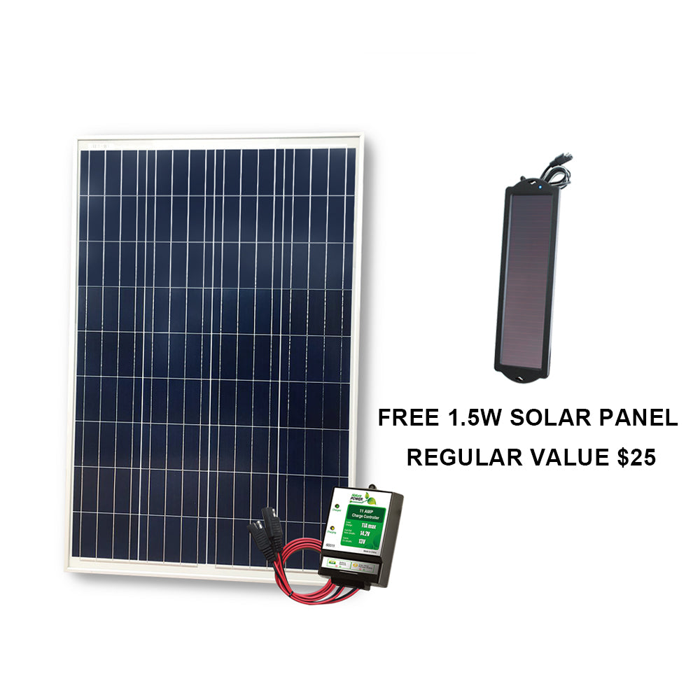 100-Watt Solar Panel for 12-Volt Battery Charging + 8A CHARGE CONTROLLER (refurbished) - Ecowareness