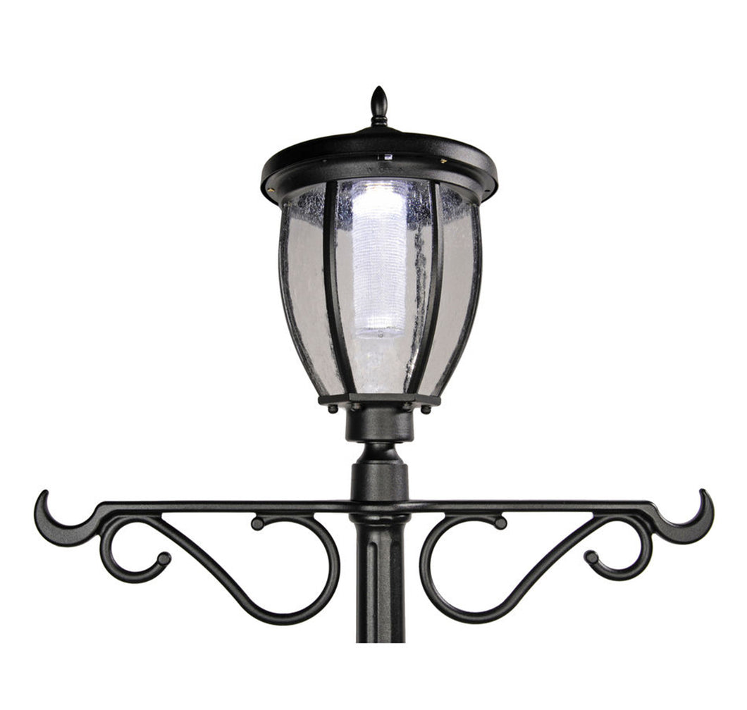 Solar Powered Outdoor Led Black Lamp Post With 18 5in Planter And