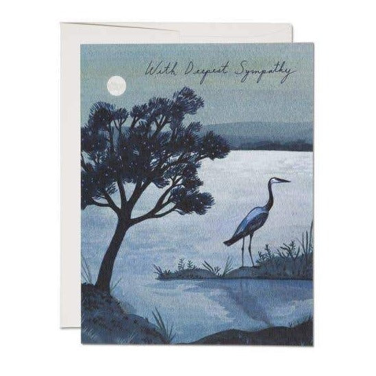 "Blue Heron ""With Deepest Sympathy"" Card"
