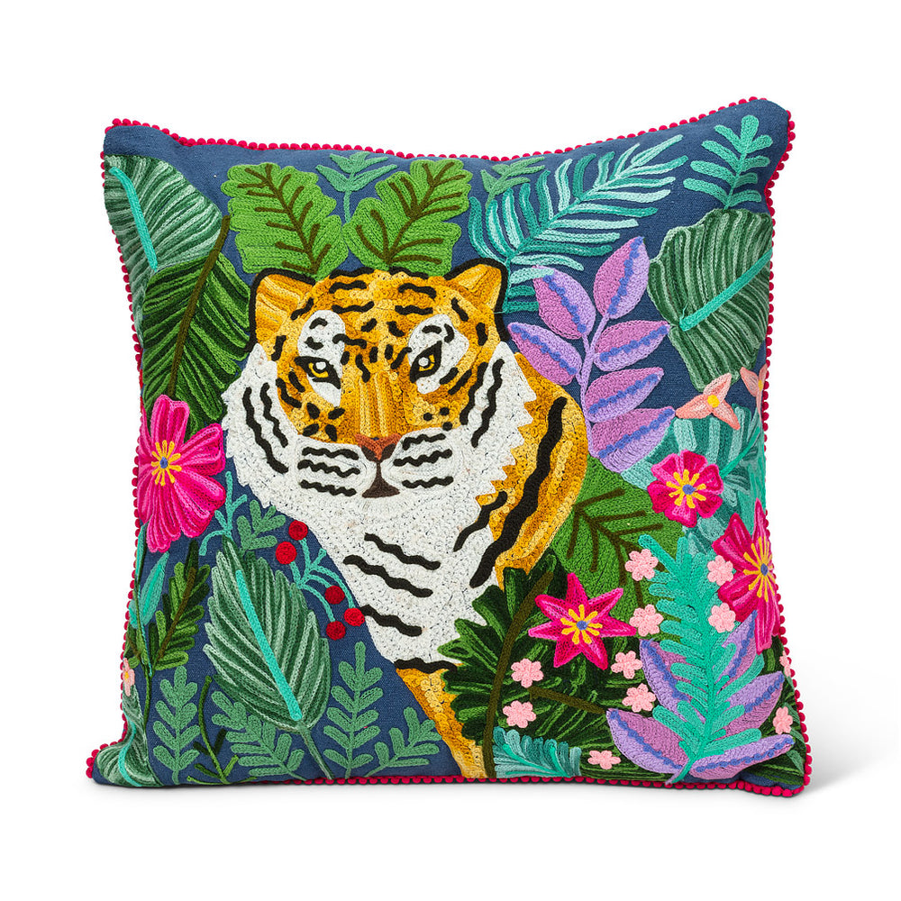 Square Tiger in the Jungle Pillow