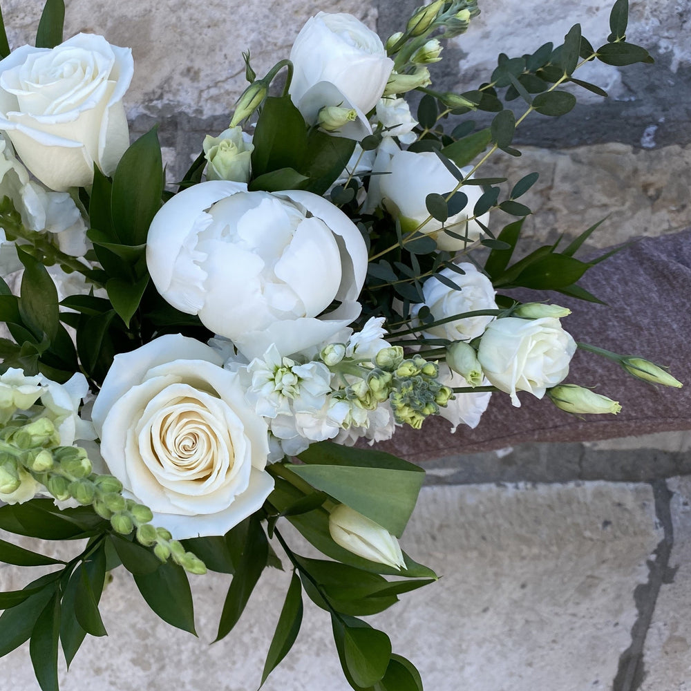 White Linen Hand-Tied Bouquet
