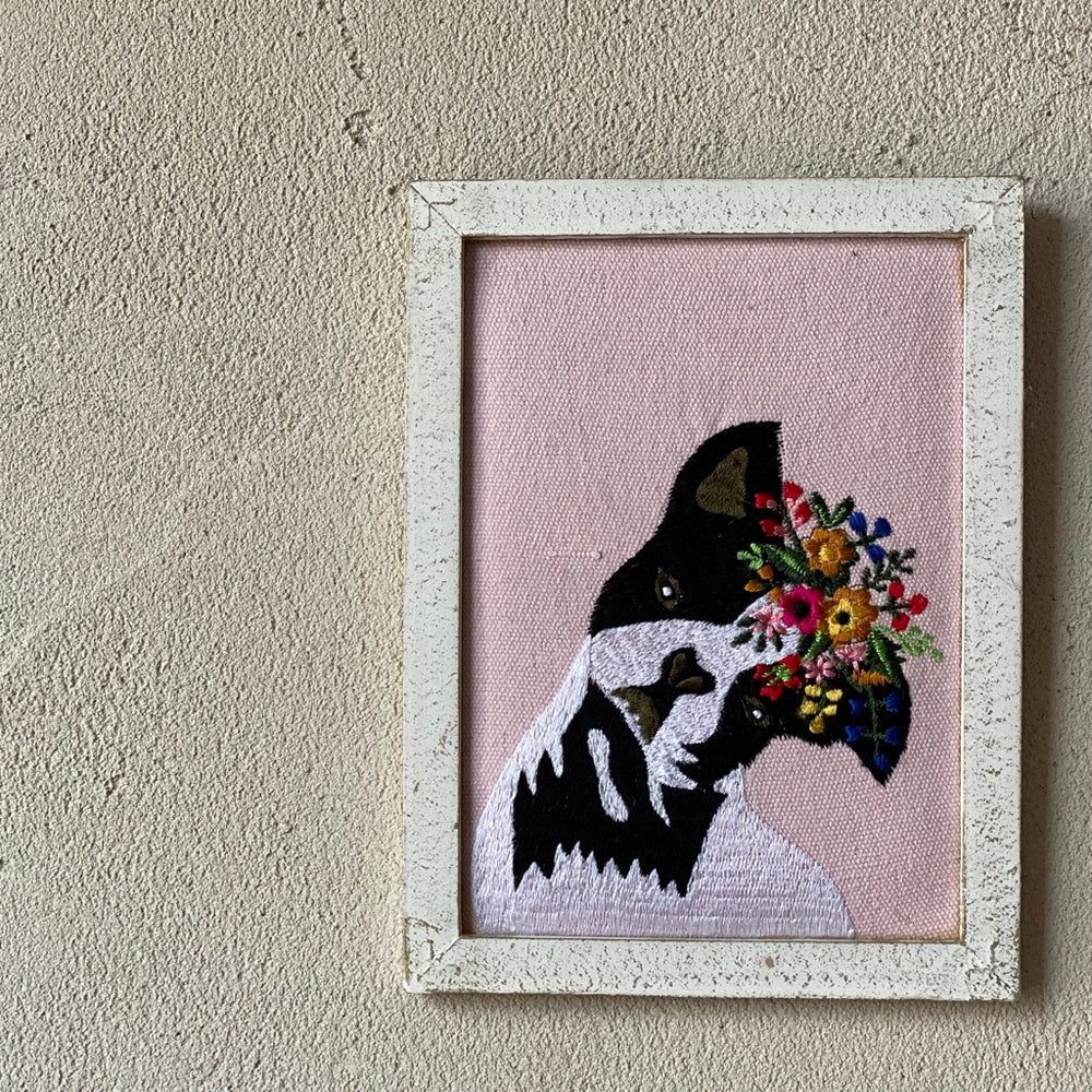 Frenchie with Flower Crown Wall Art