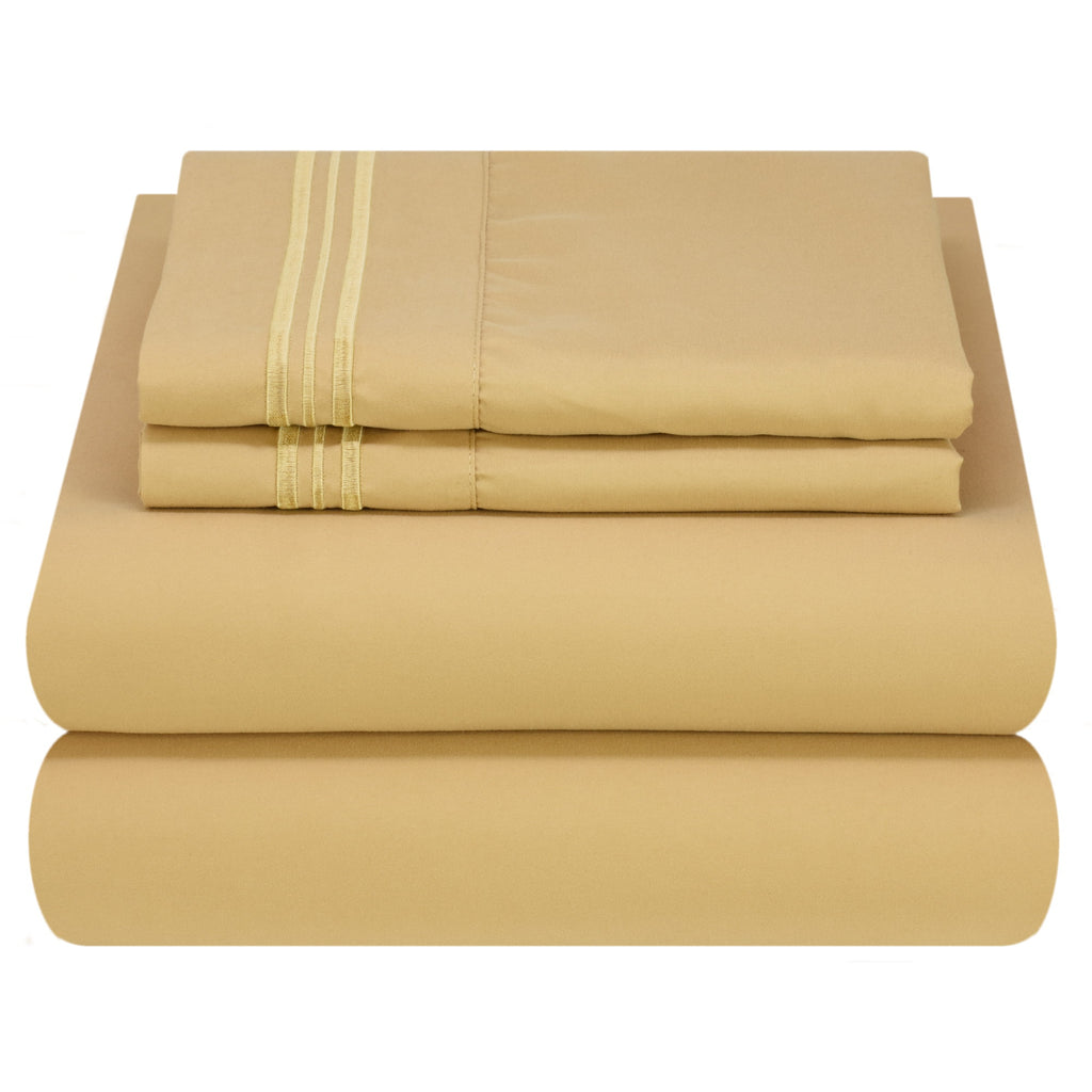 Bed Sheet Set - Light Colors - Soft and Comfortable 1800 Prestige Brushed Microfiber Collection