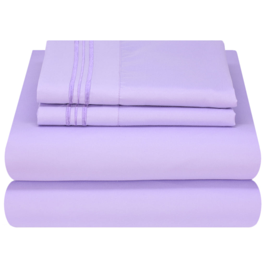 Soft and Comfortable 1800 Prestige Collection Brushed Microfiber Bedding Purple Jasper, Queen Size Mezzati Top Flat Sheet Only