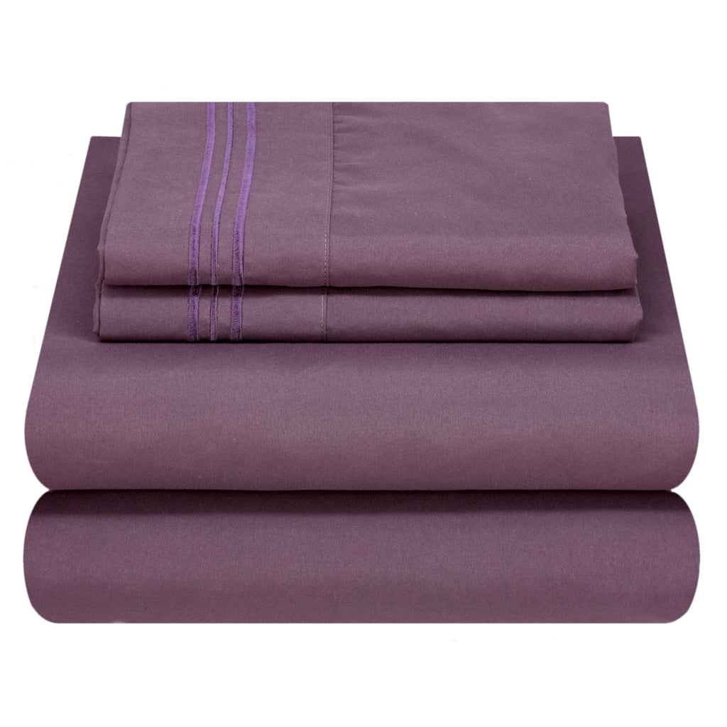 Bed Sheet Set - Dark Colors - Soft and Comfortable 1800 Prestige Brushed Microfiber Collection