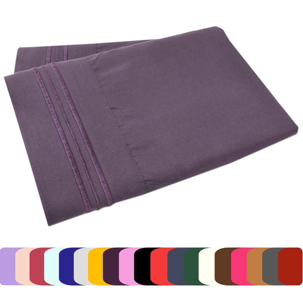 Set of Two Pillow Cases - Soft and Comfortable 1800 Prestige Brushed Microfiber Collection