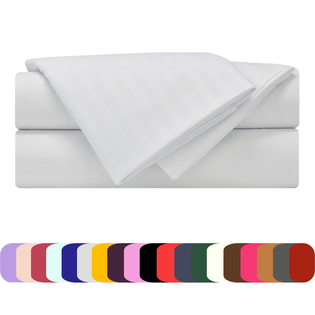 Bed Sheet Set - Striped Colors - Soft and Comfortable 1800 Prestige Brushed Microfiber Collection