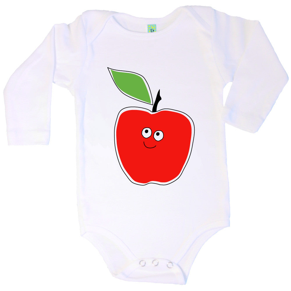 Bugged Out apple long sleeve baby onesie