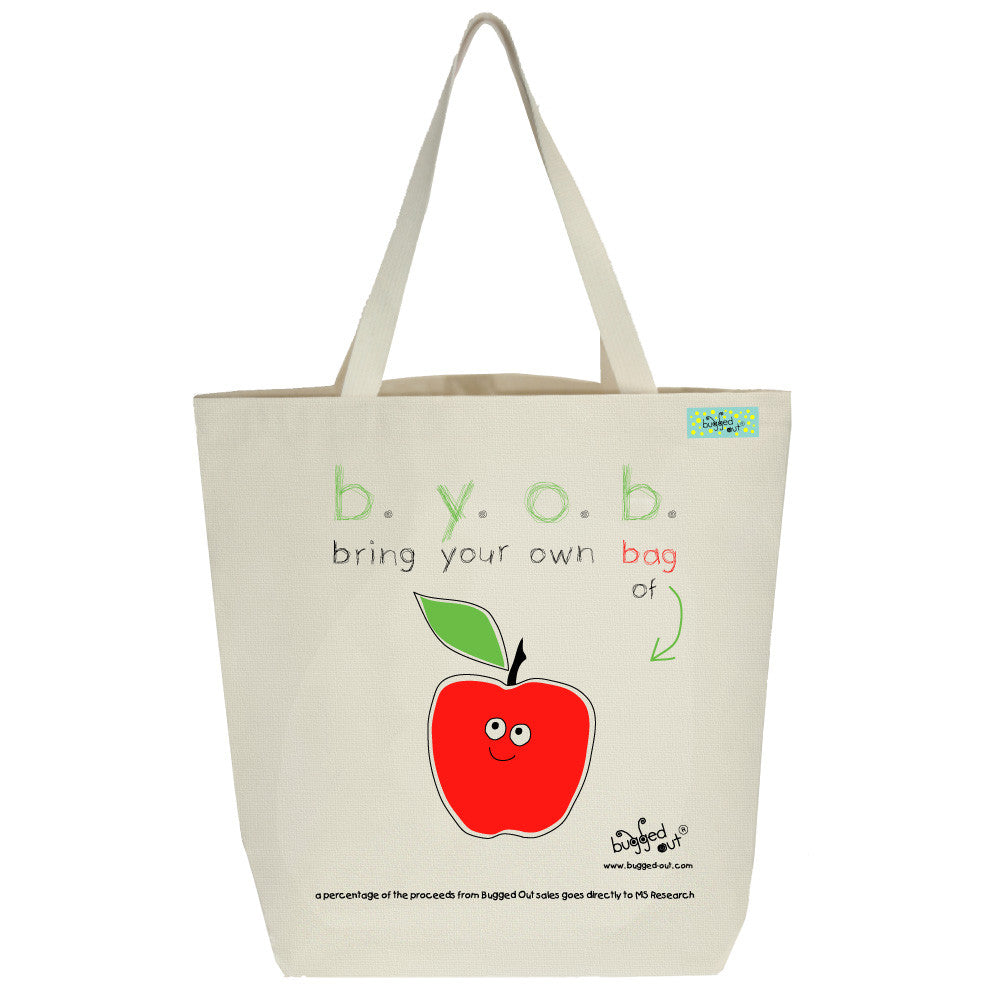 Bugged Out apple tote bag