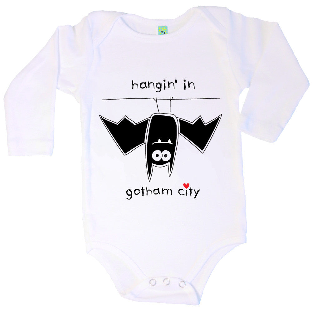 Bugged Out bat long sleeve baby onesie