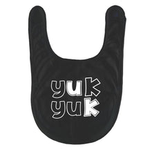 Bugged Out yukky face yuk yuk organic cotton reversible baby bib - black