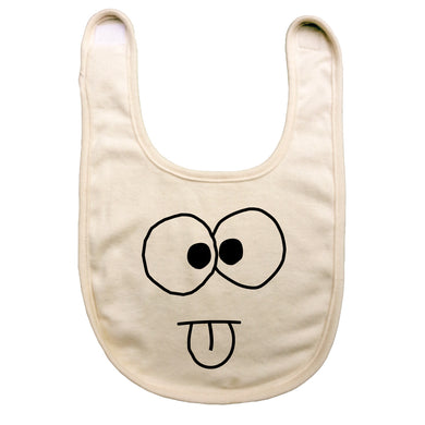 Bugged Out yukky face yuk yuk reversible baby bib - natural