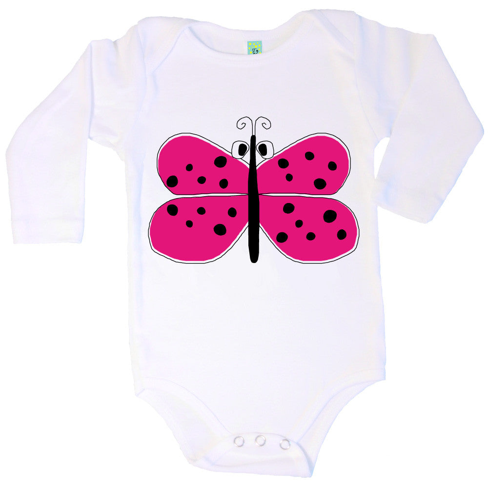 Bugged Out butterfly long sleeve baby onesie