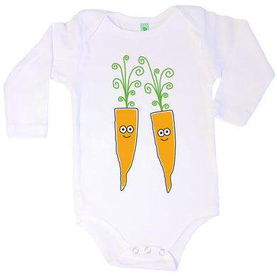 Bugged Out carrot long sleeve baby onesie