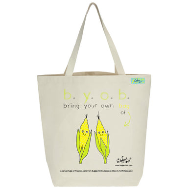 Bugged Out corn tote bag