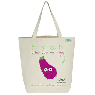 Bugged Out eggplant tote bag