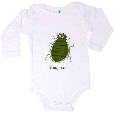 Bugged Out flea long sleeve baby onesie