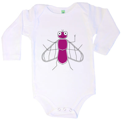 Bugged Out fly long sleeve baby onesie